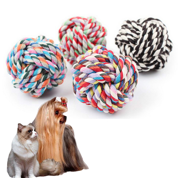 1Pc Dog Toy 7cm Puppy Gnash Cotton Knot Toy Teeth Cleaning Pet Play Ball Outdoor Training Interactive Toy 85g image
