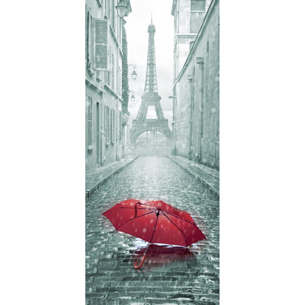 3D Door Sticker DIY Mural Imitation Paris Eiffel Tower Waterproof Self adhesive Door Stickers Bedroom Home Decor PVC Wallpaper