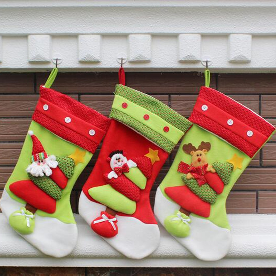 New Year Lovely Vintage Christmas Stocking Snowman Bag Gift Sock Ornament  Socks Christmas Tree Decoration(