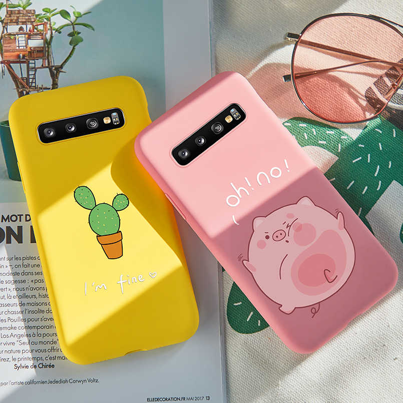 Cute Cat Dog Case For Samsung Galaxy S10 Case Cover 3D Relief Animal Silicone Bumper For Galaxy S8 S9 Plus S10e Note 8 9 J8 Case