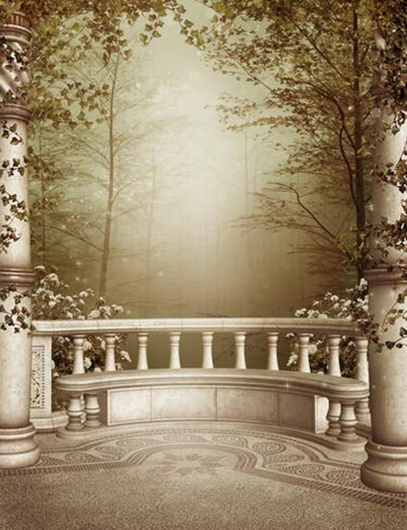 Romantic Scenic Photography Backdrops Stone Fence Dark Tree Nature Backgrounds for Photo Studio
