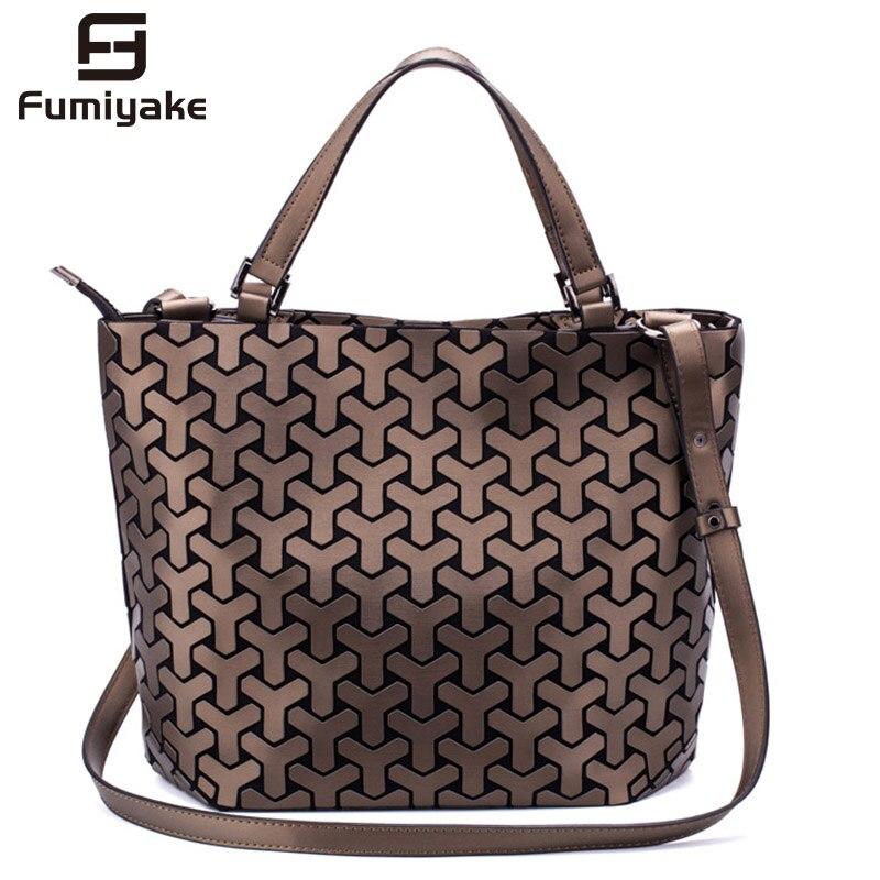 Fashion Women Shoulder Bags Bucket Bag Geometic Sequins Mirror Laser Plain Folding Bags Luminous Handbags PU Casual Tote Bag