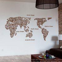 Dünya Haritası Duvar Çıkartmaları Büyük Yeni Tasarım Labirent Sanat Desen Yaratıcı Haritası Duvar çıkartmaları Vinil Çıkartmaları Dünya Haritası Poster Sticker
