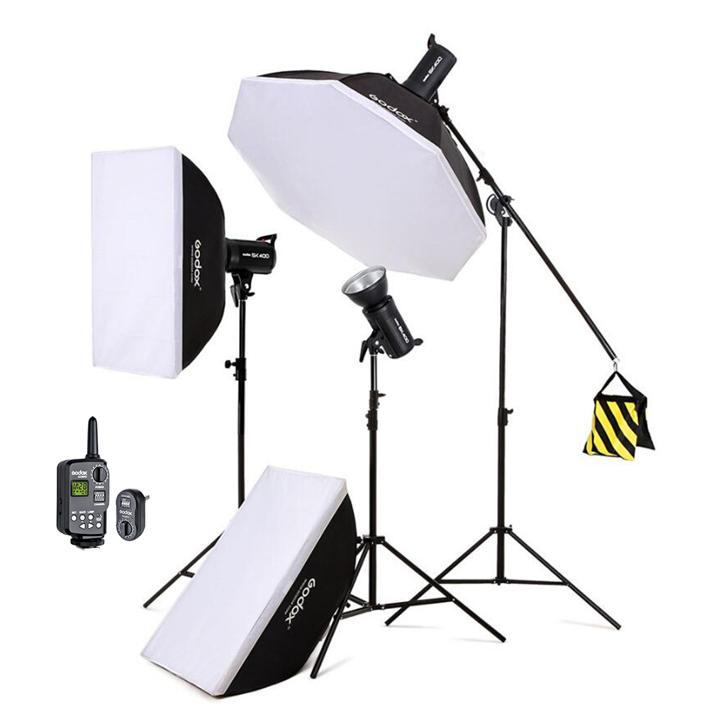 Hot Godox SK400 3x 400W 1200W Photo Studio Flash Lighting,Softbox & Light Stand & Studio Boom Arm Top Light Stand softbox studio lighting softbox light lambed 80cm cotans round cotans photographic equipment 4 flock printing background cd50