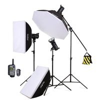 Hot Godox SK400 3x 400W 1200W Photo Studio Flash Lighting,Softbox & Light Stand & Studio Boom Arm Top Light Stand