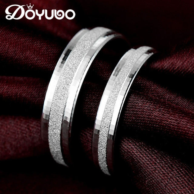 Doyubo Simple Lovers 925 Sterling Silver Wedding Rings For Men
