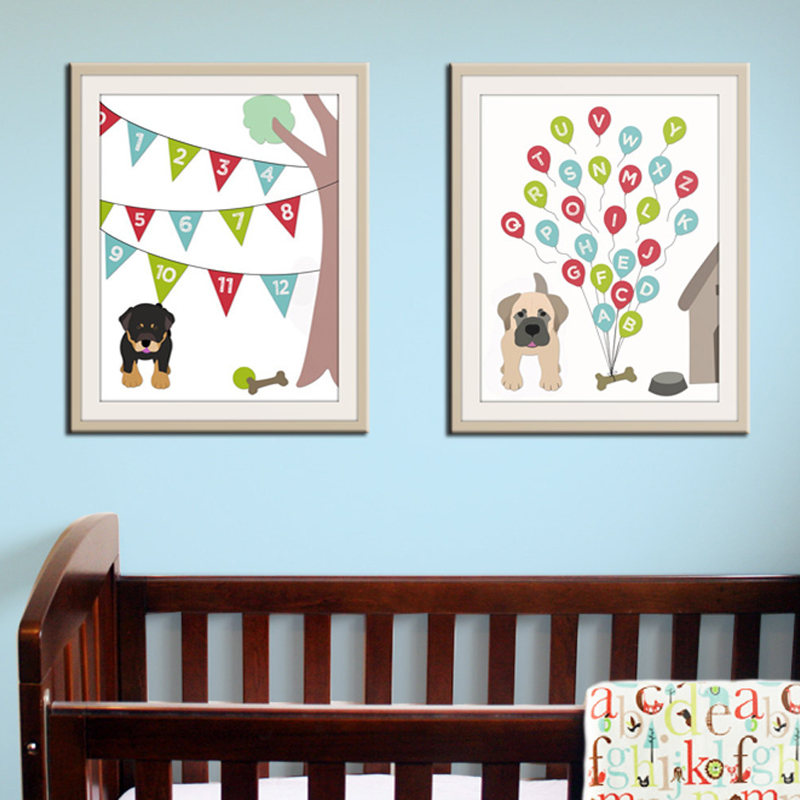 New Dog Alphabet ABC Canvas Painting Modern Baby Nursery Wall Art Print Posters Prints Pictures Decoration Home Decor Frameles