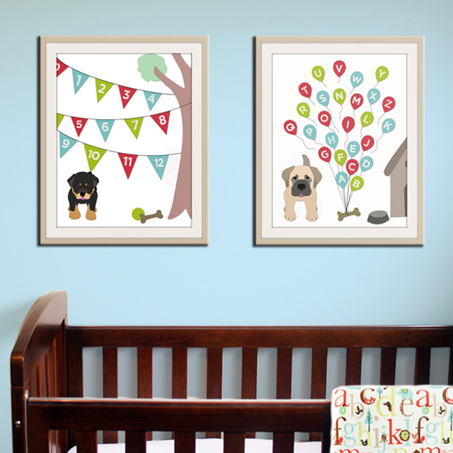 new dog alphabet abc canvas painting modern baby nursery wall art