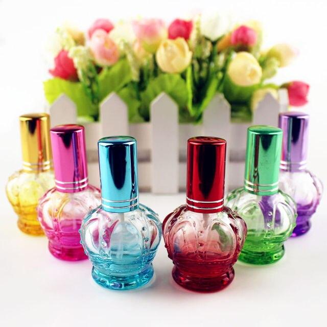 1PC 12ml kolorowe korony puste szklane butelki perfum małe próbki przenośne butelki perfum wielokrotnego napełniania perfum