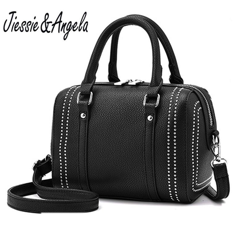 Jiessie&Angela New Brand Design Solid Boston Bag Leather Handbag Women Casual Tote Bag Female Shoulder Messenger Bags