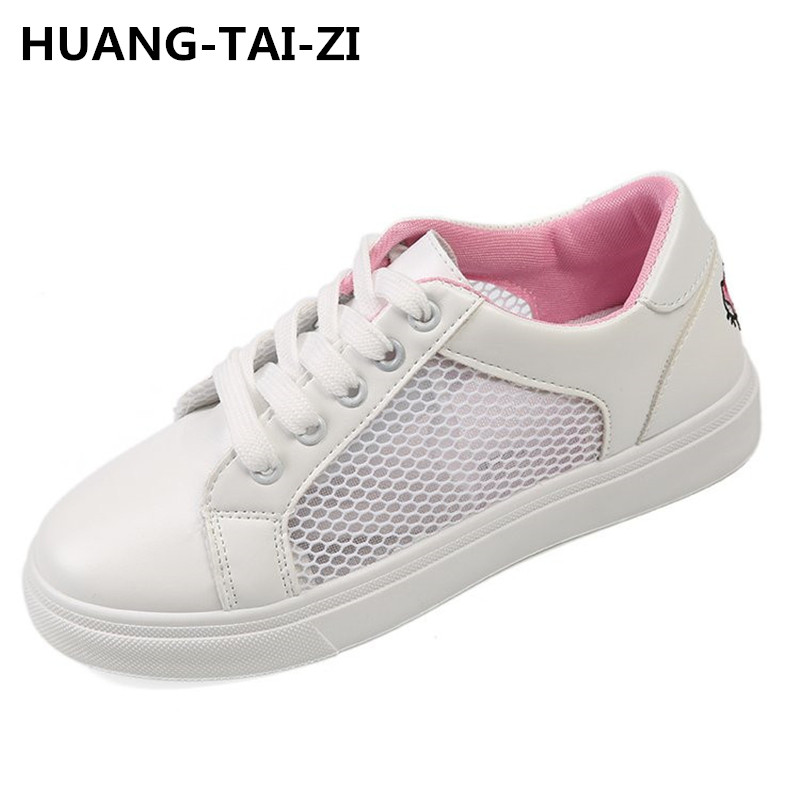 HUANGTAIZI BRAND summer new fashion women shoes casual flats PU leather mesh simple women casual girl soft white shoes sneakers
