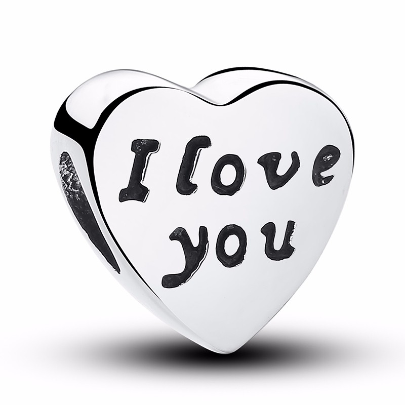 Silver Family Charm Beads - i love you
