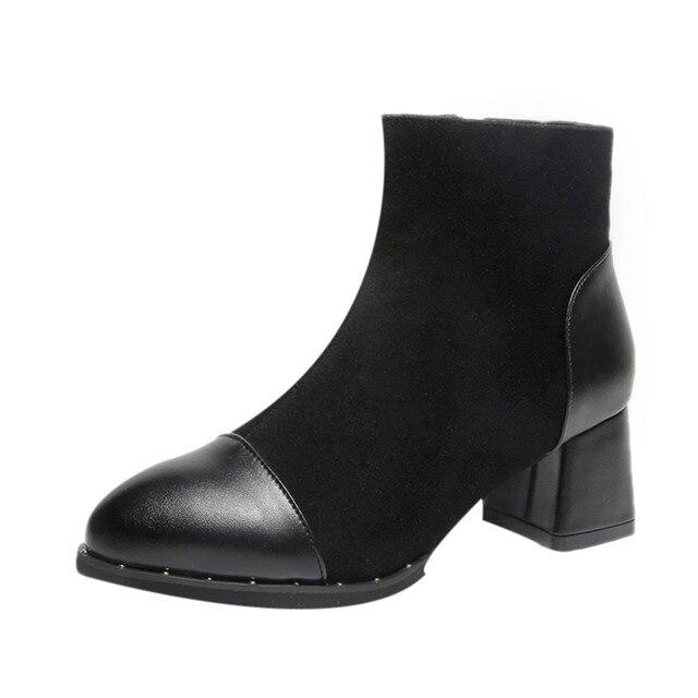 Kışlık botlar kadınlar hakiki deri Patchwork Akın Fermuar Yüksek SquareThick Martin Çizmeler Yuvarlak Ayak Ayakkabı # g10