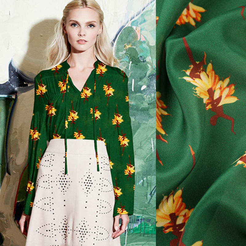135CM Wide 12MM Yellow Floral Print Thin Green Silk Crepe de Chine Fabric for Summer Dress Shirt Clothes Cheongsam D957
