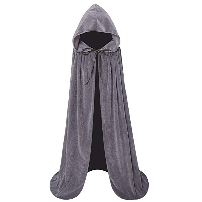 2020 Halloween Costume Unisex Cosplay Death Cape Long Hooded Cloak Wizard Witch Medieval Cape S-XL Black White Red Coffee Blue
