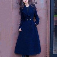 2018 vintage Winter Coat fashion Women Lady elegant laple Overcoat Wool Blends warm x long slim coat