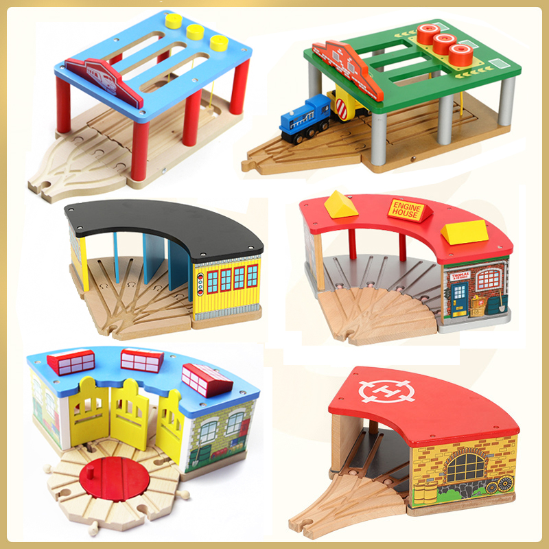 Wooden magnetic train garage station room compatible with wooden BRIO track building blocks children's toys variety optional