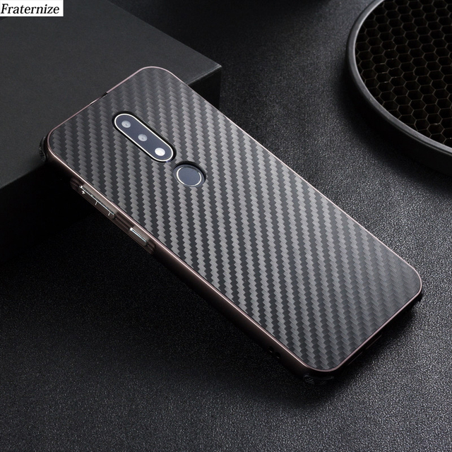 hot sale online 3a58b 26f0f US $6.49 35% OFF Aluminum Case For Nokia X6 2018 mobile cover Metal bumper  Frame+Shockproof Plastic Carbon Fiber Phone Shell Back Cover Coque-in ...