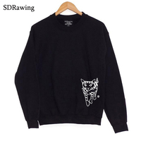 gang star cat Print Women Sweatshirts Casual Hoodies For Lady Girl Funny Hipster Jumper Drop Ship