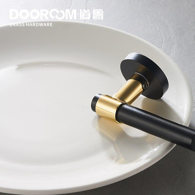 Dooroom laiton levier lumière luxe noir or moderne mode intérieur chambre salle de bains en bois massif porte serrure poignée fendue bouton - 2