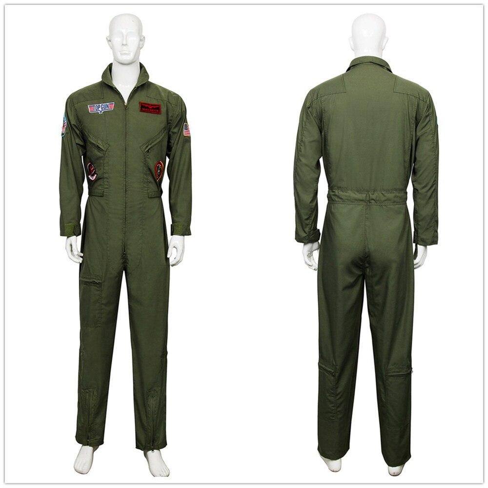 Mens Top Gun® Flight Suit Uniform Pilot Deluxe Fancy Dress Costume Aviators