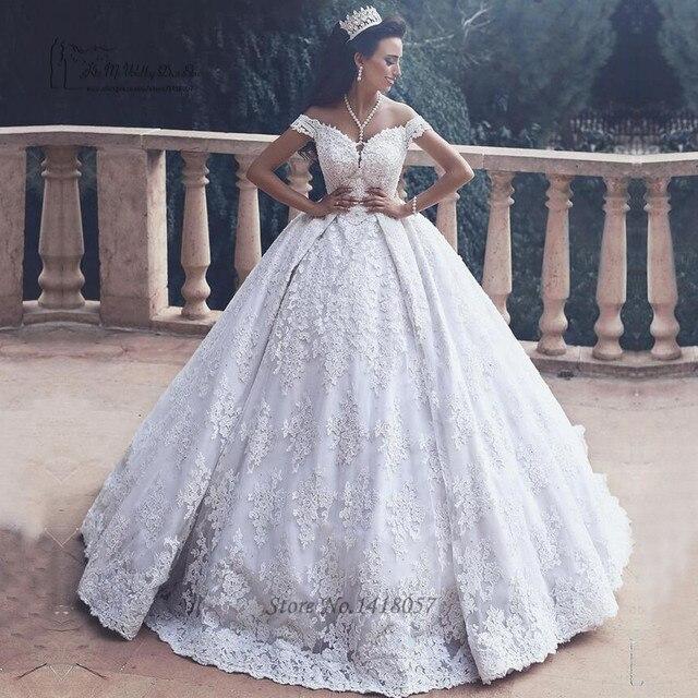 ed029e179b3 Luxury Dubai Wedding Dresses Turkey Ball Gown Bride Dress Lace African Wedding  Gowns Floor Length Vestido de Noiva Renda 2017