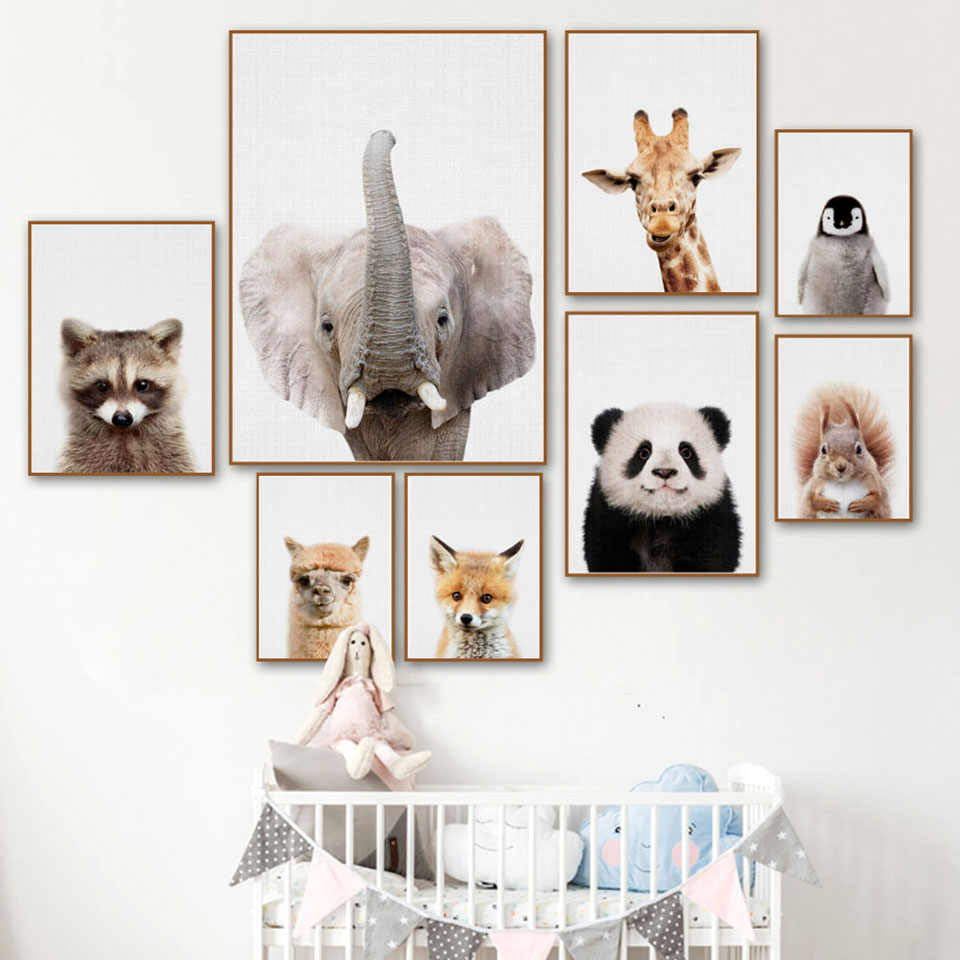 Prints Pictures Home Wall Artwork Modular Poster Animal Panda Elephant Penguin Squirrel Painting Canvas Living Room Decorative
