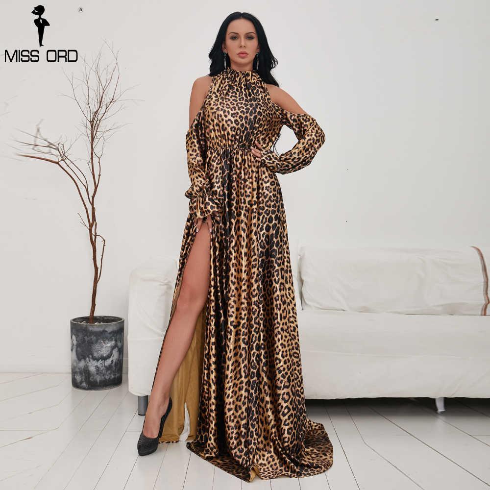 ... Missord 2019 Sexy High Neck Off Shoulder Long Sleeve Dresses Female  Leopard Print High Split Maxi ... 84866ffda7ea