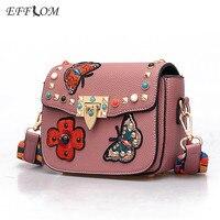 EFFLOM Kadınlar Omuz Çantaları Tasarımcı Etnik Aplikler Nakış Şeritler Perçin Crossbody Çanta Küçük Lolita Messenger Çanta Çivili