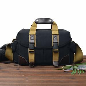 Image 3 - Camera Bag Case Canvas DSLR SLR Messenger Shoulder Bag Photo Lens Shockproof Waterproof for Canon EOS Nikon Sony a6000 Panasonic