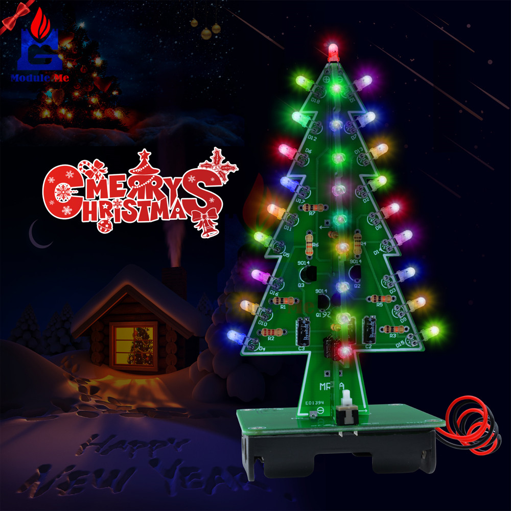 1set 3d Christmas Tree Led Diy Kit Red Green Yellow Flash Ledchristmaslightingusingtransistors Kits 7 Color Light Circuit Trees