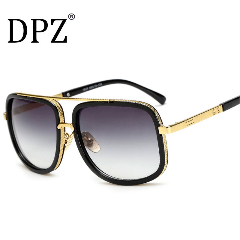 DPZ Brand Design men sunglasses Women retro square High quality steampunk UV400 protective eyeglasses Luxury brands with box