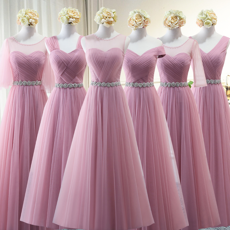 Robe-De-Soiree Bridesmaid-Dresses Beads Bridal Party Wedding Lace-Up Long Aline Tulle