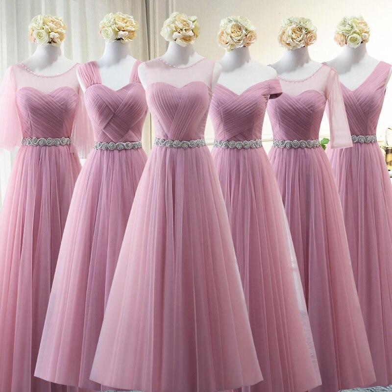 Nouveauté Tulle perles à lacets Aline robes de demoiselle d'honneur longue fête de mariage robes de mariée réfléchissantes 2018 robe de soirée