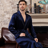 Cearpion New Brand Men Bathrobe Elegant Solid Long Sleeve Sleepwear Natural Silk Robe Men Soft Nightwear Lounge Wear Sleep Gown