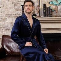 Cearpion New Brand Men Bathrobe Elegant Solid Long Sleeve Sleepwear Natural Silk Robe Men Soft Nightwear Lounge Wear Sleep Gown