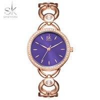 SK удивительные Femme браслет Часы часы Для женщин кварцевые наручные часы Нержавеющая сталь ремешок для часов Ремешок для женские