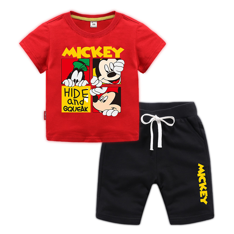 Sport Fits Kids's Summer time Boys Woman Clothes Units Cartoon mickey Mouse Quick Sleeve T Shirt + Quick Pants Little one Garments 2-9Y Clothes Units, Low-cost Clothes Units, Sport...
