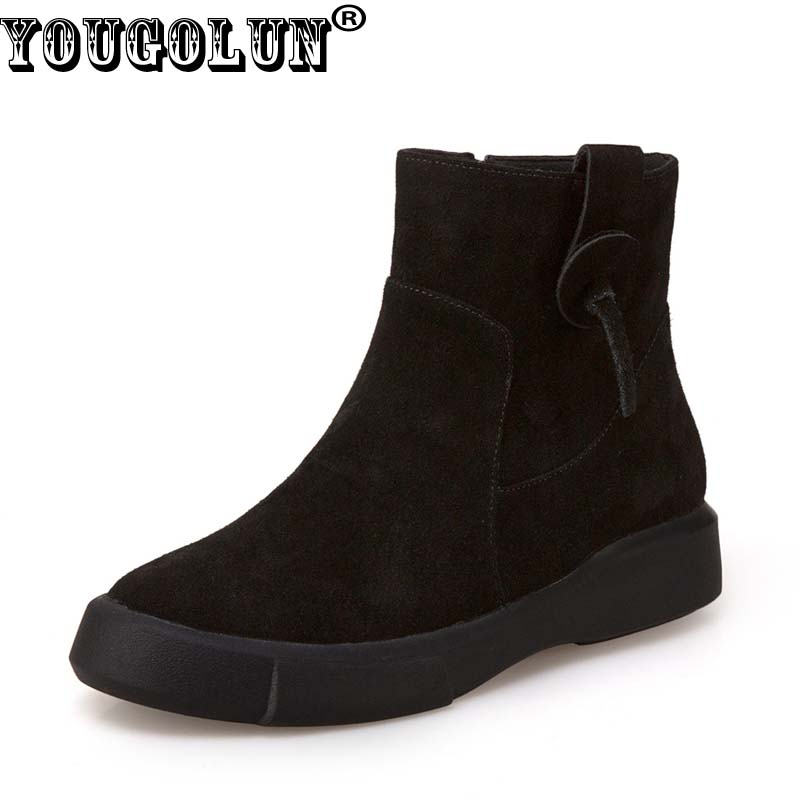 YOUGOLUN Women Ankle Boots Autumn Winter Genuine Cow Suede Nubuck Leather Black Soft Sole Boots Woman Flat Shoes #Y-255 front lace up casual ankle boots autumn vintage brown new booties flat genuine leather suede shoes round toe fall female fashion