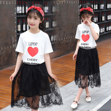 hot deal buy kids clothes 2019 new cotton short  girls clothing sets o-neck short sleeve tshirt+skirt children's suit 3-12 baby girl clothes
