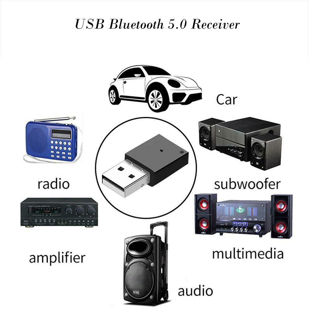 USB Bluetooth Adapter Dongle  Aux Audio Bluetooth 4.0 4.2 5.0 Speaker Music Receiver For Car Radio Amplifier Multimedia