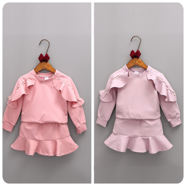 2016 Girl Children's Garment Autumn Girl Baby Lotus Leaf Nail Jacket Sweater Short Skirt You Half-body Skirt 2 Pieces Suit