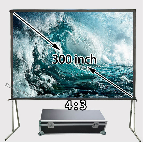 Cheap Price 300inch 4:3 Front Projection Screen Floor Stand Big Screens For Movie Show Display low price 92 inch flat fixed projector screen diy 4 black velevt frames 16 9 format projection for cinema theater office room