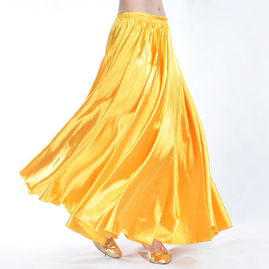 Cheap 16 Colors Professional Women Belly Dancing Clothes Full Circle Skirts Flamenco Skirts Plus Size Satin Belly Dance Skirt