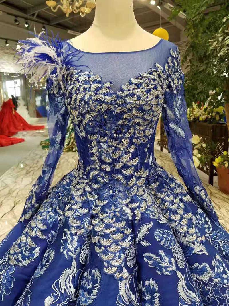 LSS300 bầu xanh dương Đầm tầng Chiều dài cổ tròn dài tay phối ren lưng hồi giáo đường cong hình dáng đầm nữ với appliques