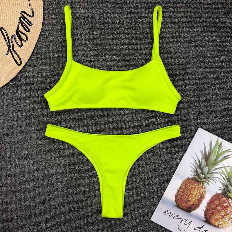 Bathing Suit Bikini Set Swimwear Thong Swimsuit Yellow Women Female Low Waist Bikinis Fits True To Size, Take Your Normal Solid