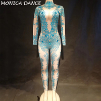 Women Sexy Stage Big Diamonds Jumpsuit Blue Sprakling Crystals Bodysuit Nightclub Dancer Costumes for Singer Bling Stage Wear