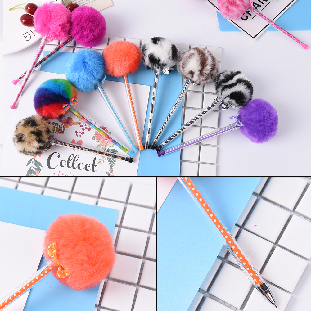 0.5mm Creative Stationery Lovely Color Hair Ball Pen Needle Tube Pen Plush Lapices Huara ...