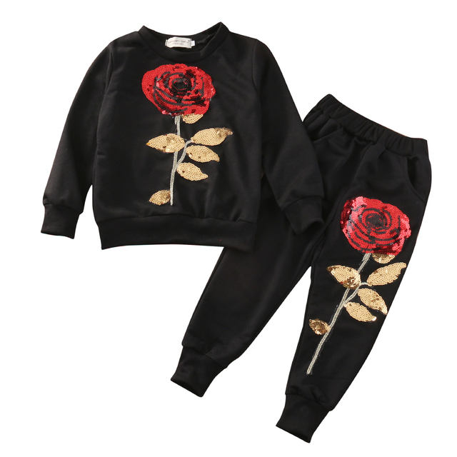 2fbe2276e612 Pudcoco Sequined Rose 2Pcs Toddler Kids Baby Girl Black White Long Sleeve T-shirt  Tops+Pants Outfits
