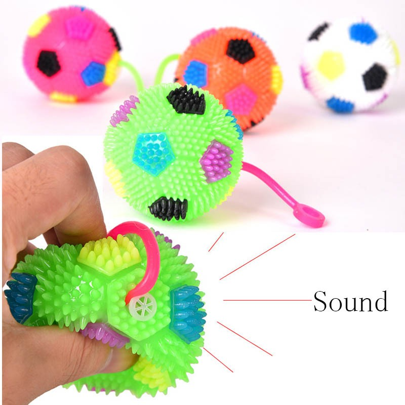 2018 FLASHING LIGHT UP BABY FINGER BALLS FOOTBALL LED BOUNCE BALL Toys Kids Party Birthday 6.5CM Wedding Decoration